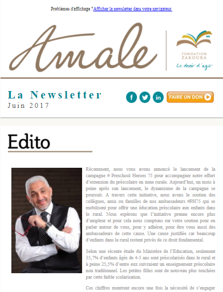 Newsletter Amale - Juin 2017