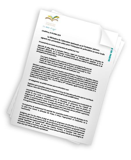 Le MEN et la Fondation Zakoura signent une convention cadre pour l'extension du préscolaire en zone rurale