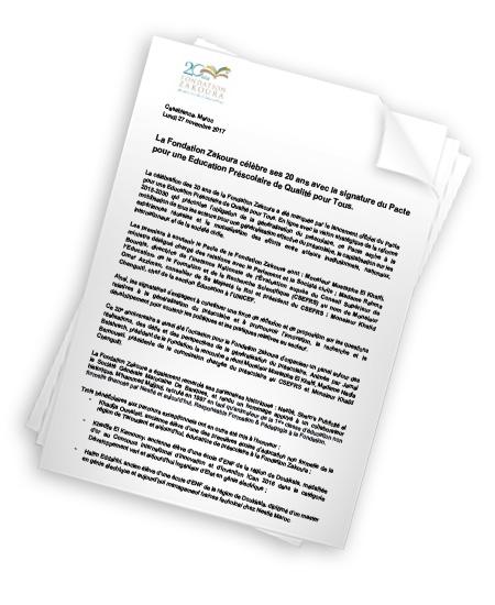 La Fondation Zakoura célèbre ses 20 ans avec la signature du Pacte pour une Education Préscolaire de Qualité pour Tous.