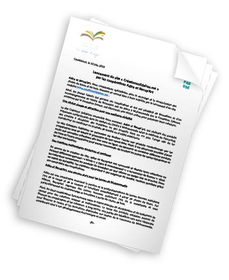 Lancement du site www.creationsolidaires.ma par les coopératives Adira et Recup'Art
