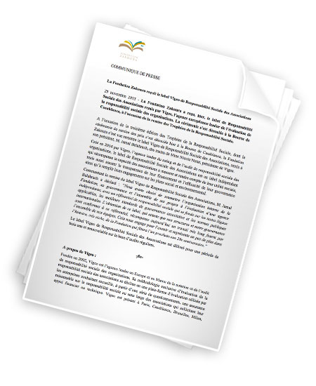 Label Vigeo de Responsabilité Sociale des Associations pour la Fondation Zakoura